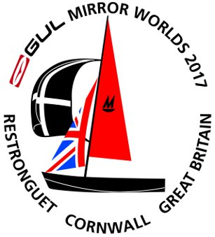 2017 Gul Mirror Worlds logo, stylized drawing of a black Mirror with a union jack jib and a cornish flag spinnaker