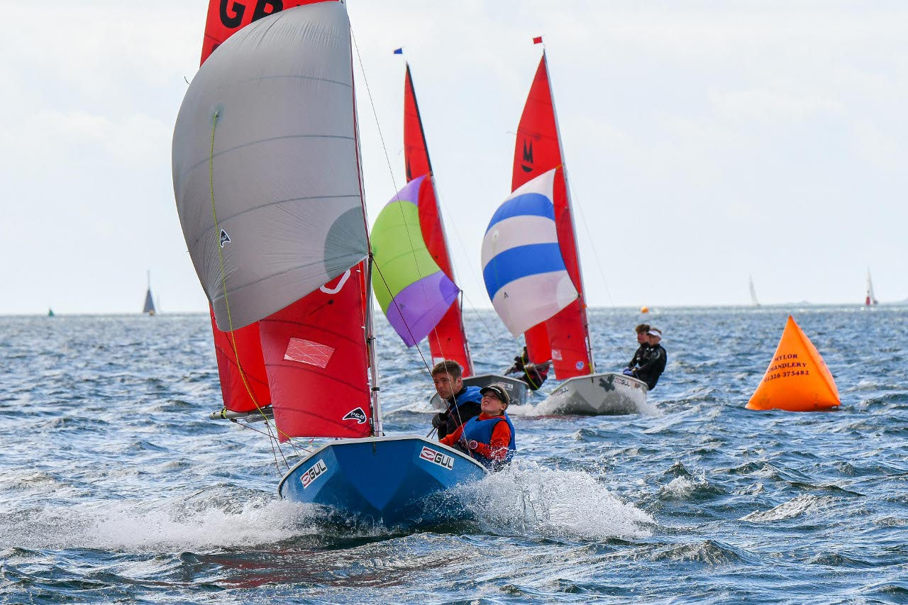 Three Mirror dinghies racing under spinnaker